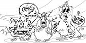 Cartoon Monsters Group Coloring Page