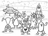 Cartoon Ufo Aliens Group Coloring Book