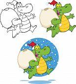 Crocodile Santa Cartoon Character Running With Bag. Collection Set