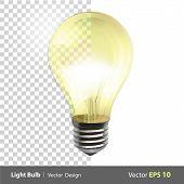 Lightbulb On. Realistic Vector Design.