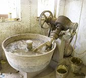 Machine Of Mixing Of Potter's Clay. Island Of Crete