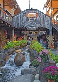 Tourists At Moonshine Holler In Downtown Gatlinburg, Tennessee