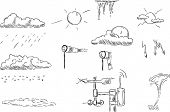 vector - set of weather symbols, isolated on background