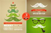 pic of moustache  - Hipster greeting cards Merry Christmas - JPG
