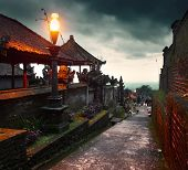 Buildings in a largest Balinese temple Pura Besakih at twilight. Indonesia