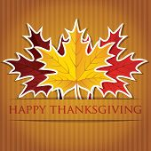 stock photo of give thanks  - Maple leaf Thanksgiving card in vector format - JPG