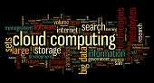 Cloud computing concept in word tag cloud on black background