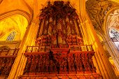 Organ Arches Stained Glass Statues Seville Cathedral Spain