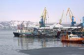 stock photo of coal barge  - Port in the Kola bay Barents sea - JPG