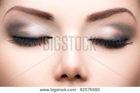 Beauty Eyes Makeup. Make up closeup. Long eyelashes, Perfect skin poster