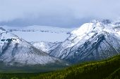 Landscape of high snowy mountains in Canadian Rockies