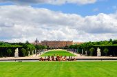 Simmer view of Versailles palace and gardens, France.