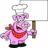 Cartoon pig holding a sign.