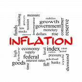 Inflation Word Cloud Concept In Red Caps