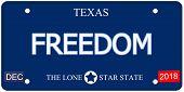 Freedom Texas Imitation License Plate