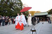 Tokyo,japan-nov 23 :a Japanese Wedding Ceremony At Meiji Jingu Shrine