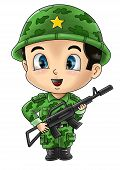 image of chibi  - Cute cartoon illustration of a soldier isolated on white - JPG