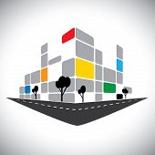 Vector Icon - Commercial Office High-rise Building Of City Skyline.