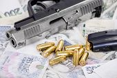 Gun With Bullets On Czech Banknotes