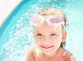 Cute Little Girl In Swimming Pool In Glasses