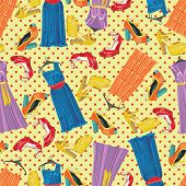 Colored Dresses,open Shoes And Polka Dot In Seamless Pattern