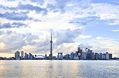 Toronto city waterfront skyline in late afternoon