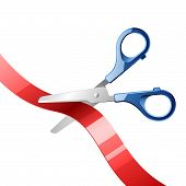 Scissors cutting red ribbon. Vector.