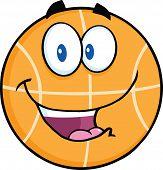 Happy Basketball Cartoon Character