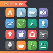 Flat Birthday Party Celebrate Icons and Symbols Set Vector Illustration