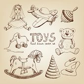 retro hand drawn toys