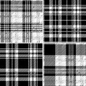 Black And White Tartan Seamless Vector Pattern