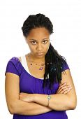 Isolated portrait of beautiful black teenage girl pouting