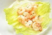 Appetising Shrimp Scampi On Lettuce