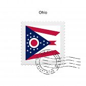 State of Ohio flag postage stamp.