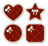 picture of girlie  - A collection of four plaid sewing patches in heart - JPG