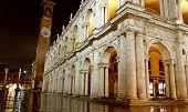 stock photo of palladium  - wonderful Basilica PAlladiana work of architect Andrea Palladio in Piazza dei Signori in Vicenza in Italy at night - JPG