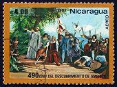 Postage Stamp Nicaragua 1982 Landing Of Columbus