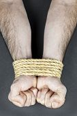 Male hands tied up with strong rope