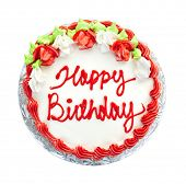 foto of uncut  - Birthday cake with writing from above isolated on white - JPG