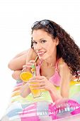 Girl Drink Juice On Air Mattress