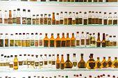 Old Grappa Bottles In Basano De Grappa In A Grappa Museum