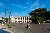 Visitors, Spectators Are Walking On Piazza Bra Outside The Arena Di Verona