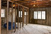Interior of a house under gut renovation at construction site