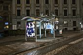 Vienna - Empty Bus Stop In Viennas First District By Night