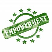 Green Weathered Empowerment Stamp Circle And Stars Design