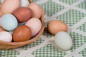 Assortment of colorful fresh eggs in basket