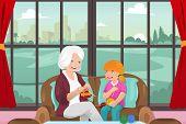 Grandma Teaching Her Granddaughter Knitting