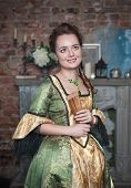 Smiling Beautiful Woman In Medieval Dress