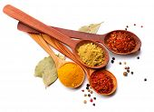 Spices. Spice in Wooden spoon. Herbs. Curry, Saffron, turmeric, cinnamon and other isolated on a whi