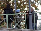 ESZTERGOM, HUNGARY - NOV 10: Angelina Jolie instructs an actor playing a United Nations peace keeper